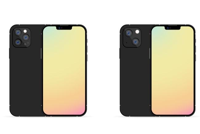 Framsida och baksida på Iphone 13 Pro och Iphone 13 som står bredvid varandra.