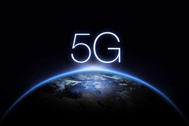 Illustration jorden och 5G-symbol.
