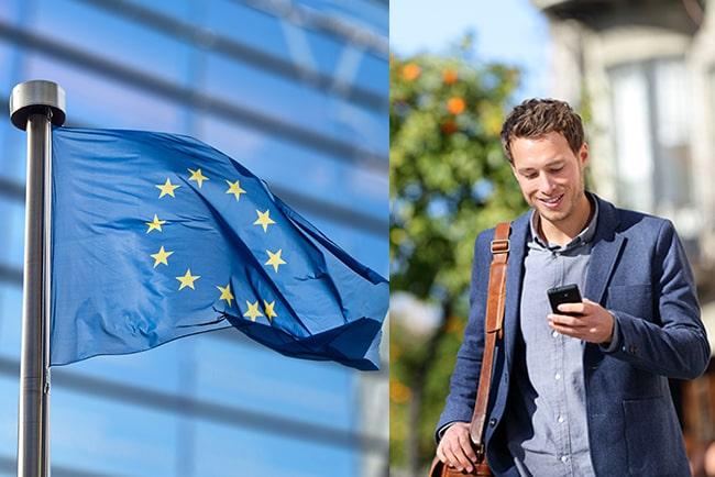 Kollage med EU-flagga och man som smsar på telefonen
