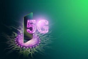 Illustration av en stående mobiltelefon och 5G