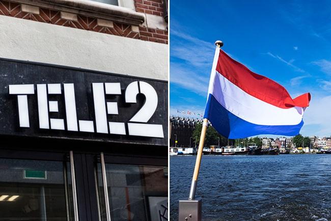 En bild på Tele2s logga och Hollands flagga