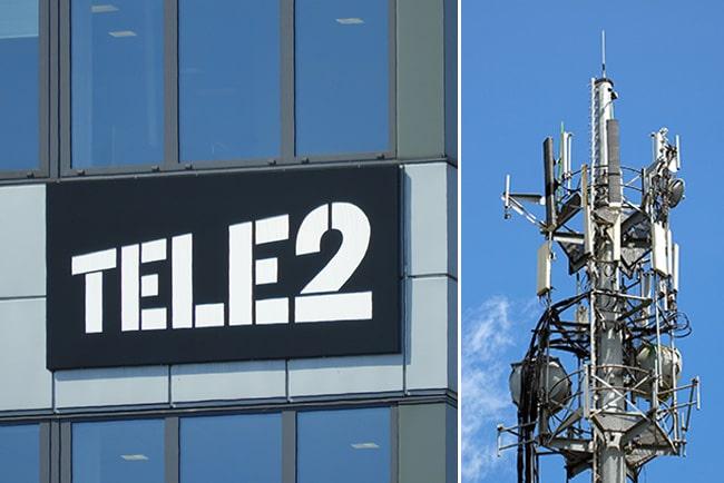Tele2:s logga och mobilmast