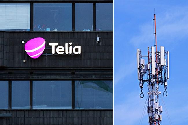 Kollage med Telia-logga på fasad och mobilmast