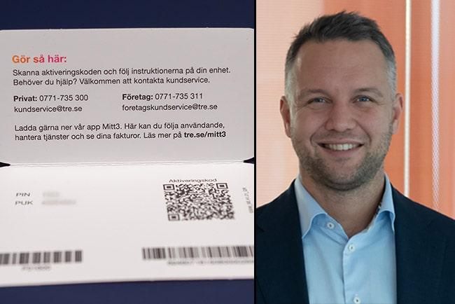 En bild på e-sim och Tres vd Johan Johansson